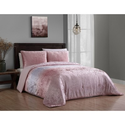 3pc Queen Bradshaw Velvet Comforter Set Blush - Geneva Home Fashion