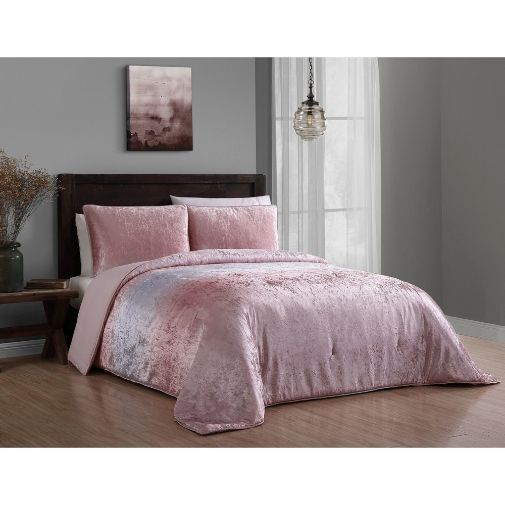 3pc Queen Bradshaw Velvet Comforter Set Blush - Geneva Home Fashion