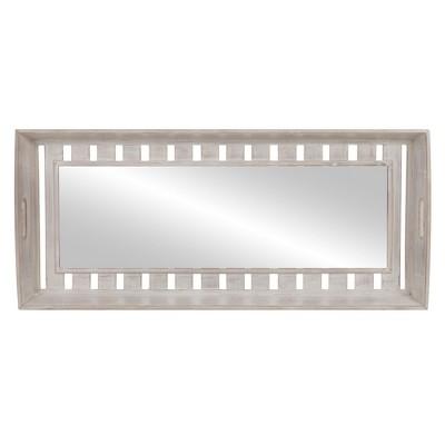 11 x34  Rustic Wood Plank Framed Wall Mirror White - Patton Wall Decor