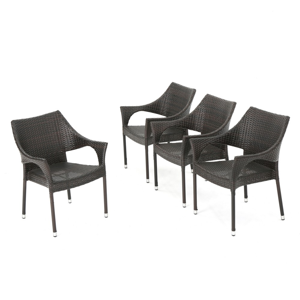 Mirage 4pk Wicker Stacking Chairs - Brown - Christopher Knight Home