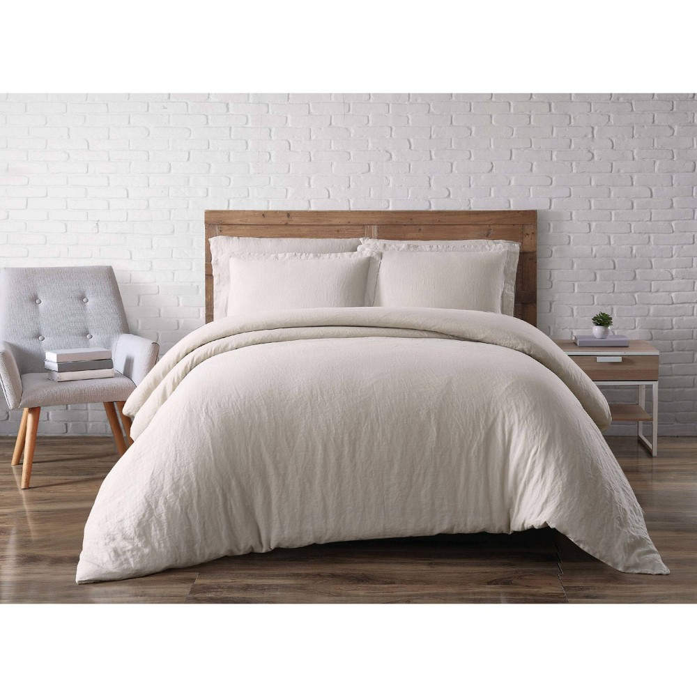 Promos 3pc Flax Linen Duvet Set Natural - Brooklyn Loom