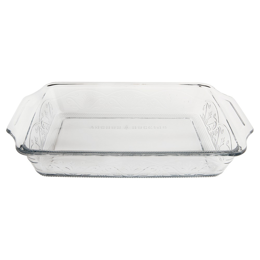 Anchor Hocking Laurel 3qt Bake Dish Clear, Medium Clear Bake and serve beautifully with the Anchor Hocking Laurel Embossed 3 Quart Baking Dish. This durable bake dish is Made IN THE USA and free of harmful chemicals. Anchor Hocking glass bakeware is dishwasher safe, microwave safe, freezer safe and oven safe up to 425°F but should not be used on the stovetop, broiler, or toaster oven. Bring beauty back to the table with the Anchor Hocking Laurel Embossed bakeware collection! Color: Medium Clear.