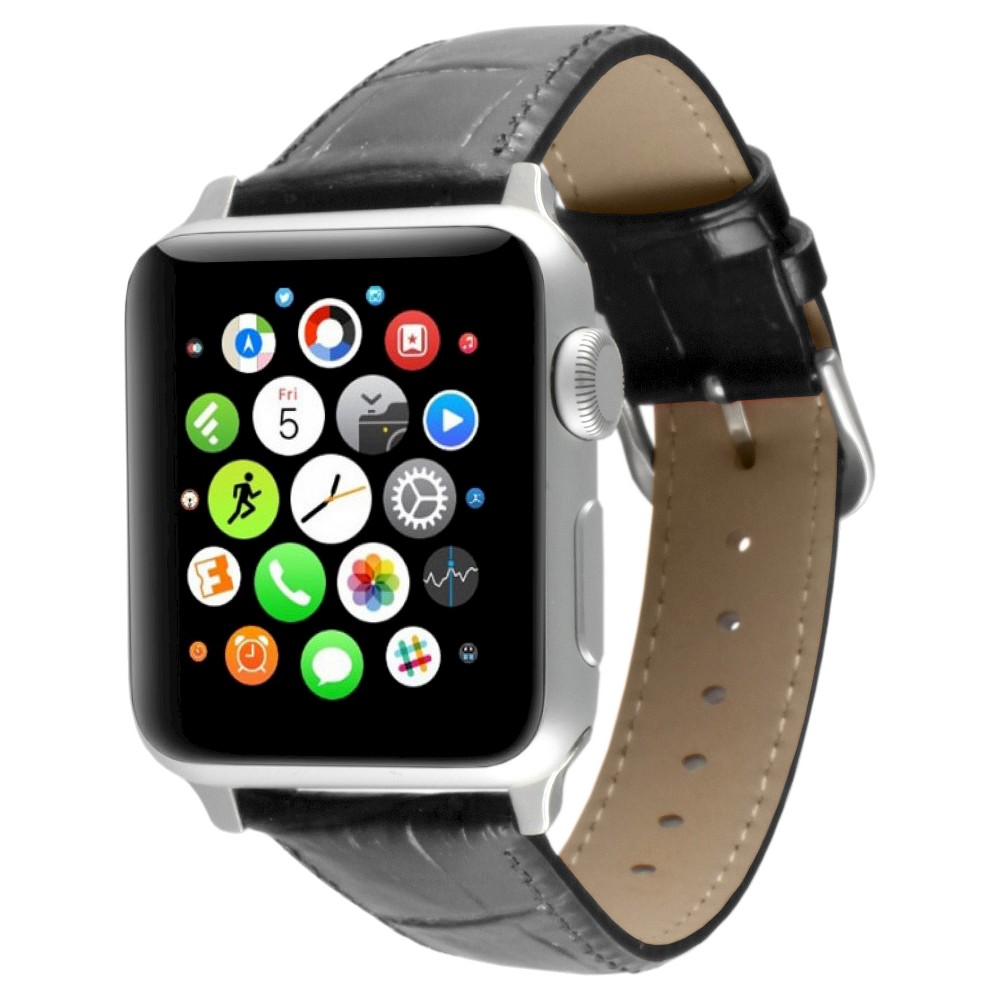 Apple Watch Replacement Leather Band with Steel Adapter - 38mm - Black