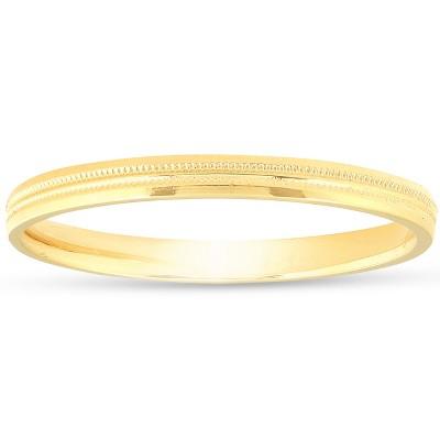 Pompeii3 14K Yellow Gold 2mm Milgrain Wedding Comfort Ring Band