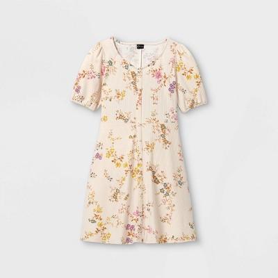 Girls' Button-Front Short Sleeve Knit Dress - art class™
