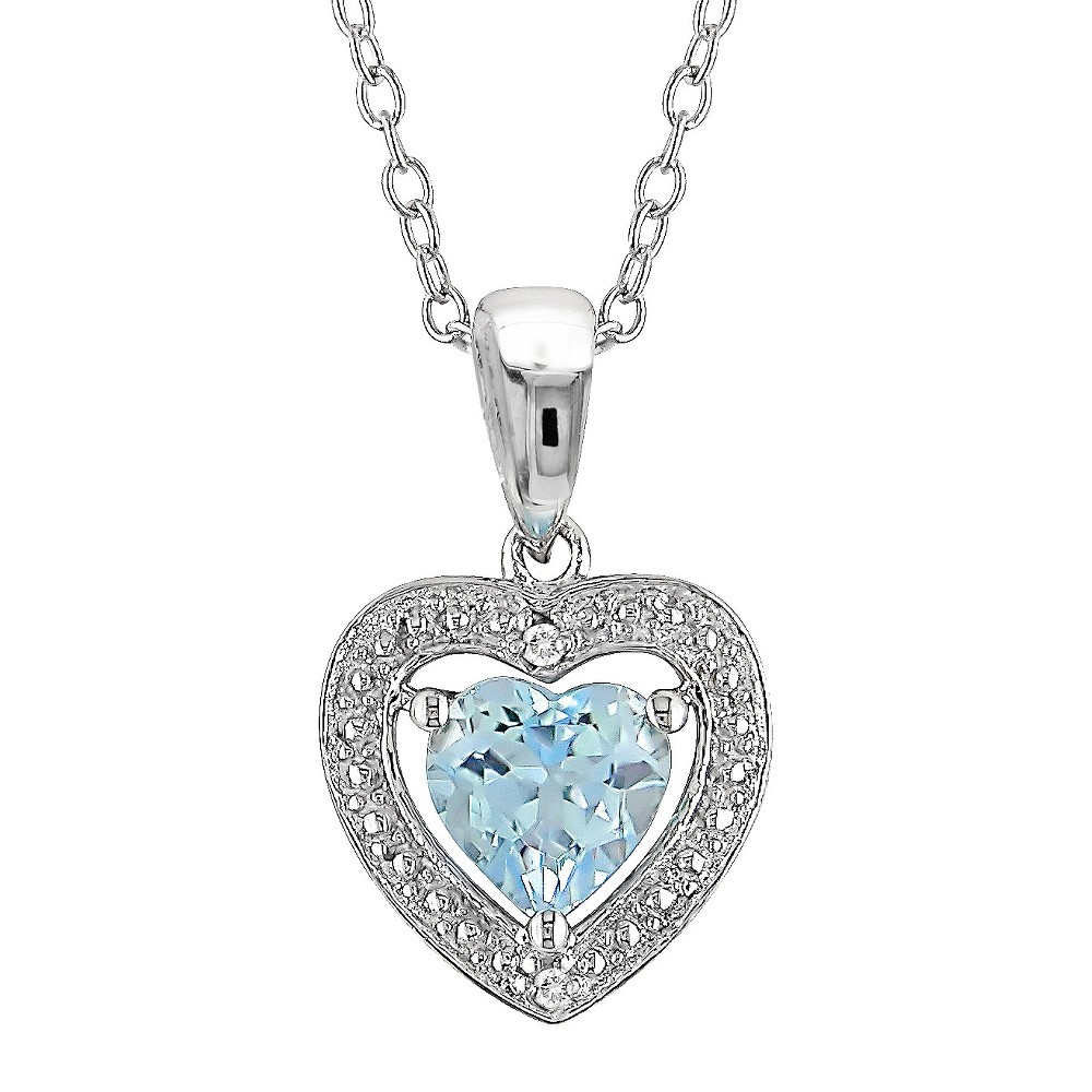 Image of 1 CT. T.W. Heart Shaped Blue Topaz and 0.01 CT. T.W. Diamond Pendant Necklace in Sterling Silver - Blue Topaz, Women's