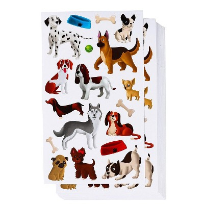 Blue Panda Dog Puppy Sticker Sheets for Goodie Bags Party Favor (36 Sheets, 648 Pieces)