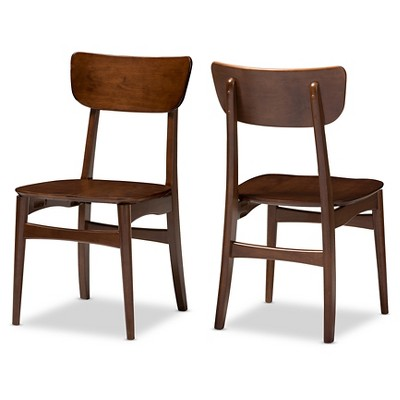 Set of 2 Netherlands Mid-century Modern Scandinavian Style Dark Walnut Bent Wood Dining Side Chairs - Baxton Studio