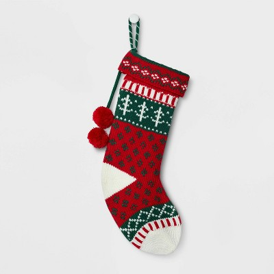 Fair Isle Pattern Christmas Stocking Red - Wondershop™