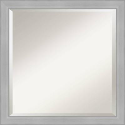 "23"" x 23"" Vista Brushed Framed Bathroom Vanity Wall Mirror Nickel - Amanti Art"