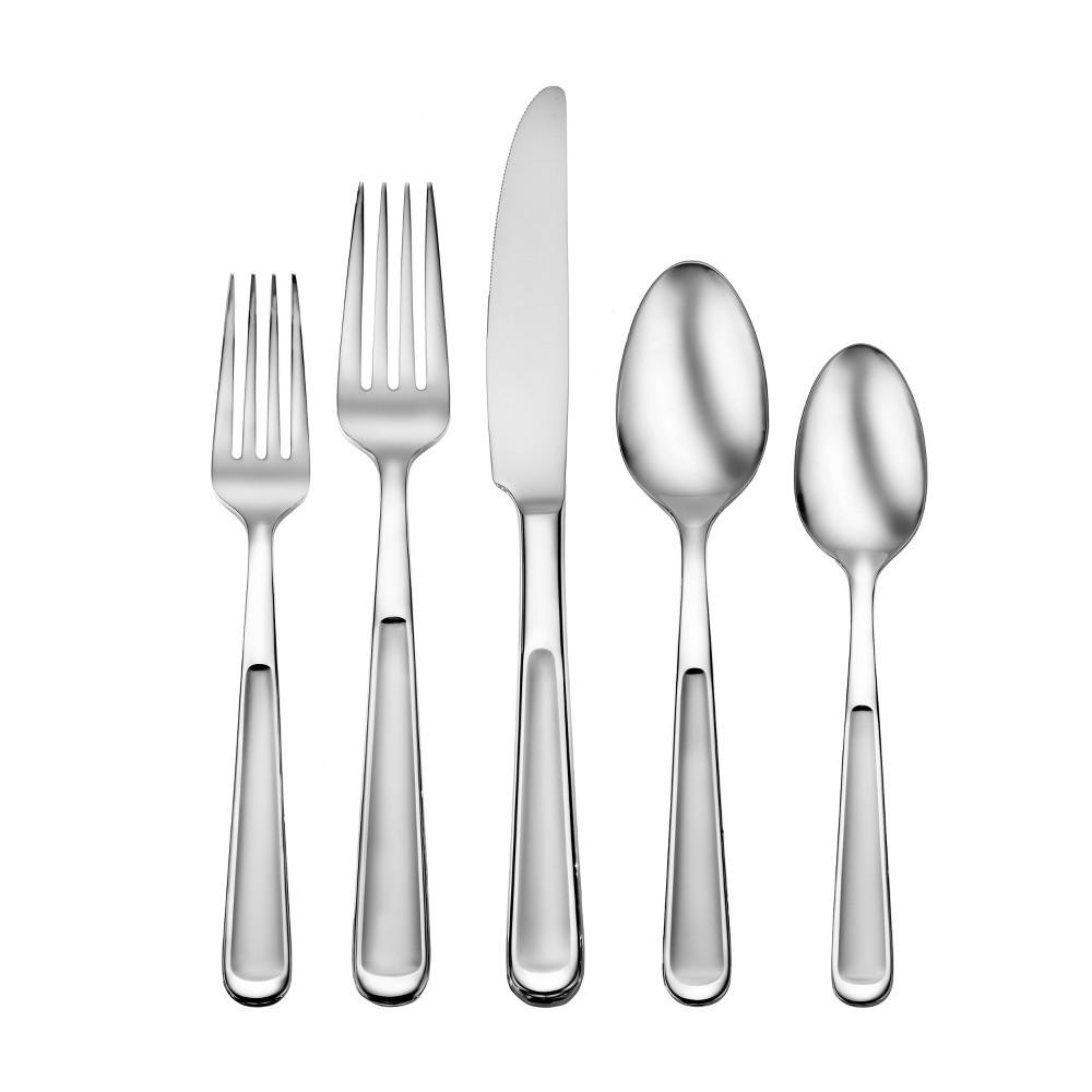 Image of Oneida 20pc Jasper Silverware Set, Medium Silver