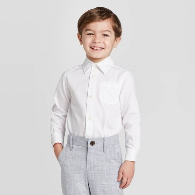Toddler Boys' Long Sleeve Button-Down Shirt - Cat & Jack™ White