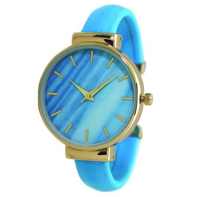 Olivia Pratt Gold-Accented Leather Bangle Fashion Watch With Gradient Face