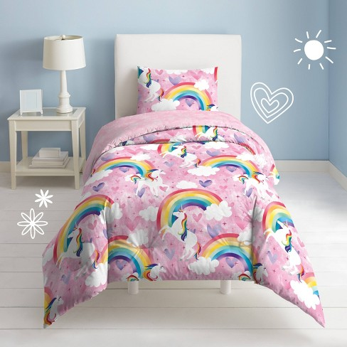 Twin Unicorn Rainbow Mini Comforter Set, Pink Unicorn Bedding Twin