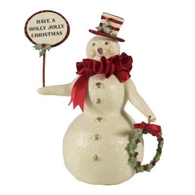 "Christmas 7.5"" Ross Snowman Wreath Top Hat  -  Decorative Figurines"
