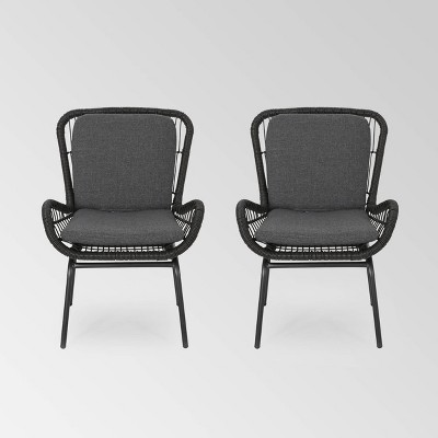 Pabrico Set of 2 Wicker Club Chairs - Gray/Dark Gray - Christopher Knight Home