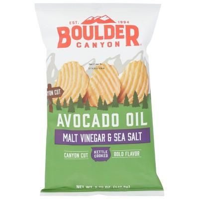 Boulder Canyon Avocado Oil Malt Vinegar & Sea Salt Kettle Chips - 78oz (Pack of 12)