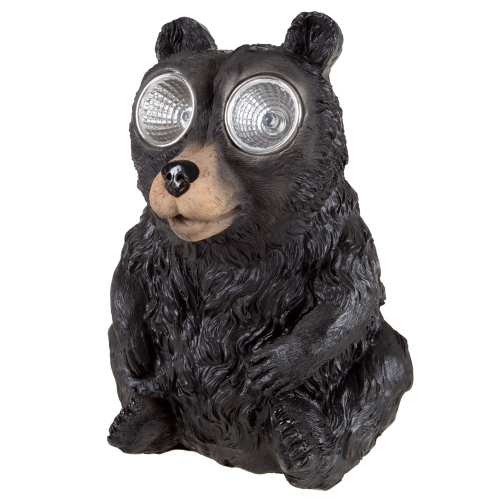 """Black Bear Solar Powered LED Light Garden Statue (4.75""""x4.5""""x6.5"""") - Pure Garden"""