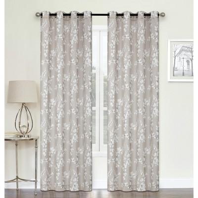 Kate Aurora Living 2 Pack Shabby Chic Designed Semi Sheer Grommet Top Cherry Blossom Window Curtains