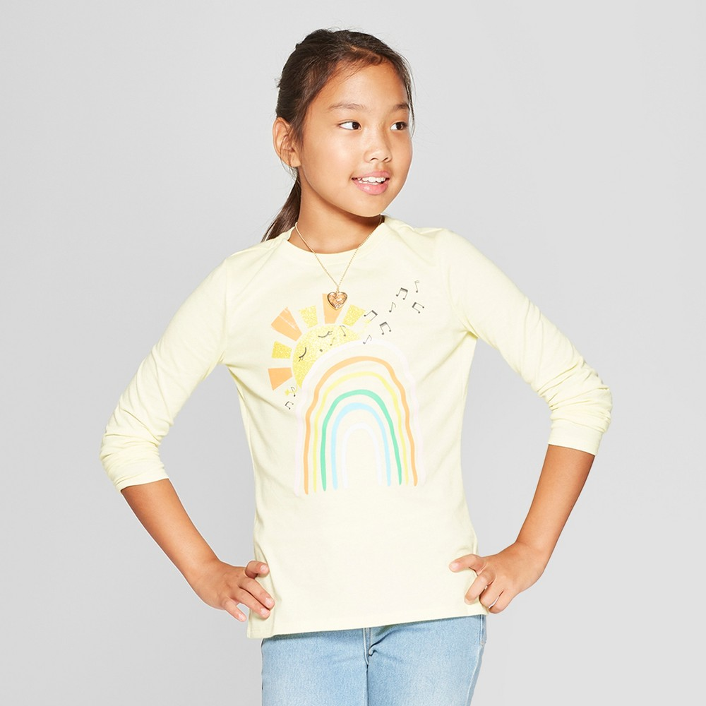 Girls' Long Sleeve Rainbow Graphic T-Shirt - Cat & Jack Yellow S