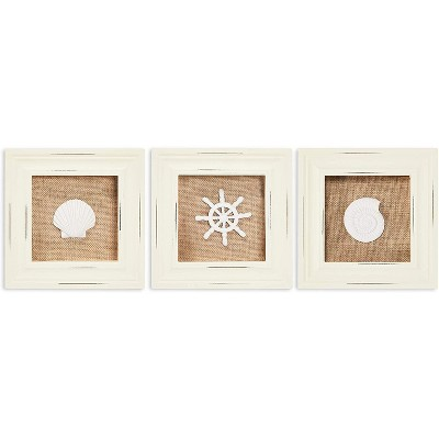Okuna Outpost 3 Pack Shadow Box Display Case Frame, Nautical Home Decor (6.3 x 1.1 in)