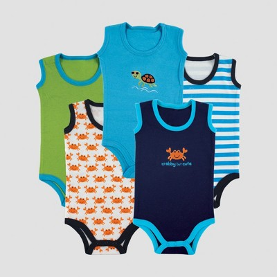 Luvable Friends Baby Boys' 5pk Sleeveless Bodysuits, Crab - Blue 6-9M