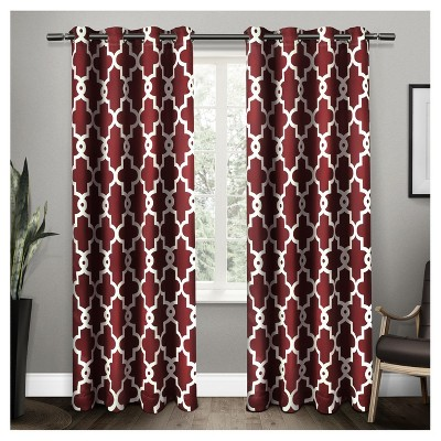 Ironwork Sateen Woven Room Darkening Window Curtain Panel Pair Burgundy (52 x84 )- Exclusive Home™