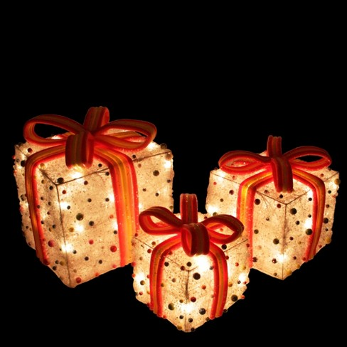 northlight set of 3 white lighted tinsel gift boxes with bows and candy christmas outdoor decorations target