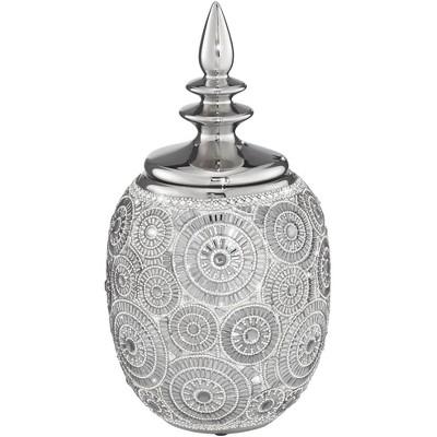 "Dahlia Studios Silver 13"" High Ceramic Decorative Jar with Lid"