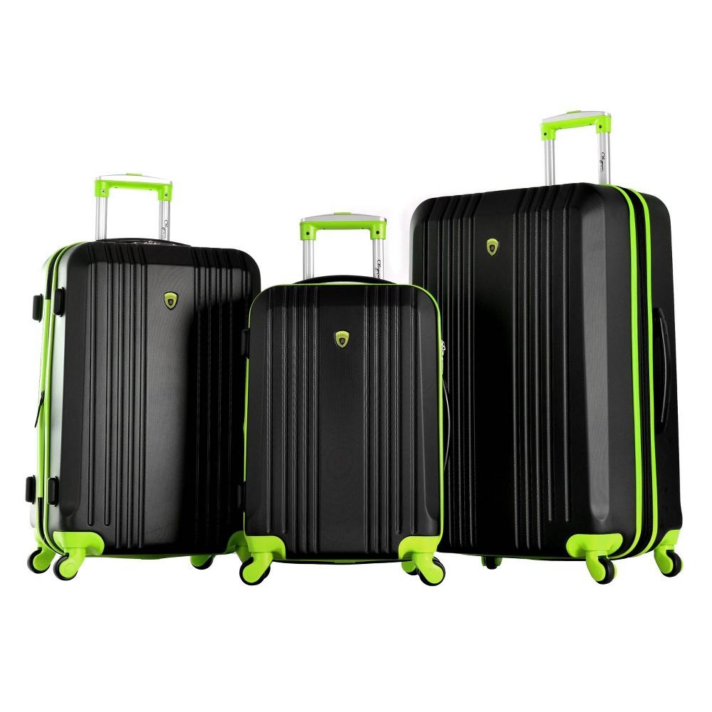 Image of Olympia USA Apache II 3pc Luggage Set - Black/Lime, Black/Green