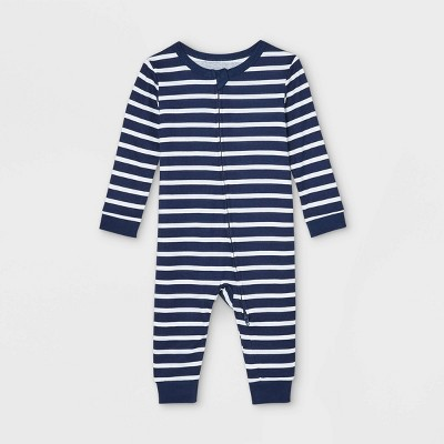 Baby Striped 100% Cotton Matching Family Pajama Union Suit - Navy