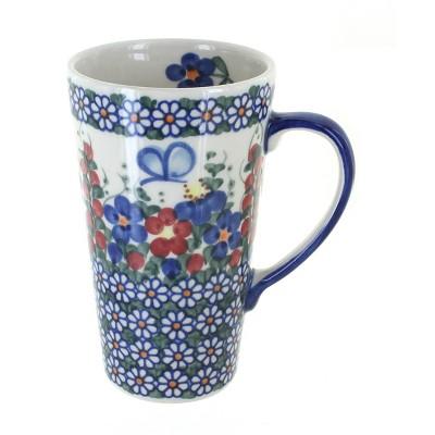 Blue Rose Polish Pottery Garden Butterfly Large Coffee Mug