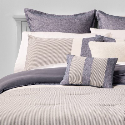 King Alden Stripe 8pc Bed Set Blue