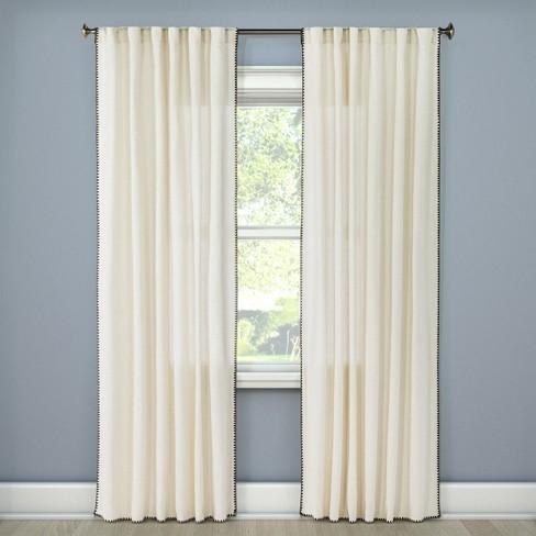 "84""x54"" Stitched Edge Light Filtering Curtain Panel Cream - Threshold™ - image 1 of 2"