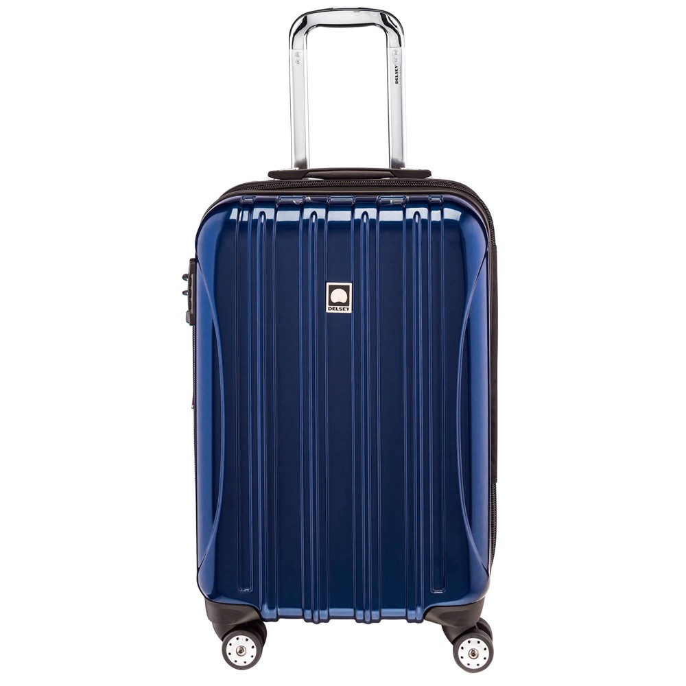 "Image of ""DELSEY Paris Aero 21"""" Expandable Carry On Spinner Suitcase - Blue"""