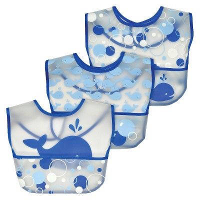 green sprouts® Wipe-off Bibs (3 pack)- Blue Whale