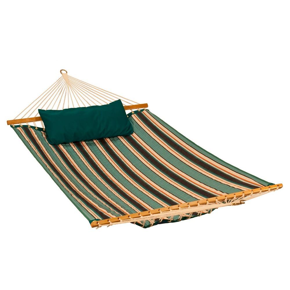 Image of Algoma Sunbrella Quilted Hammock Reversible 11' - Token Surfside Stripe/Canvas Teal