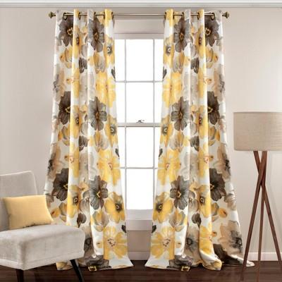 52 x84  Set of 2 Leah Room Darkening Window Curtain Panel Yellow/Gray - Lush Decor