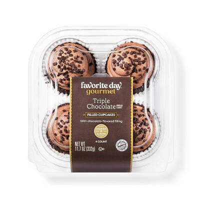 Triple Chocolate Filled Cupcakes - 11.7oz/4ct - Favorite Day™