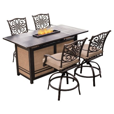 Genial Traditions 5pc Metal Patio Bar Set W/ Fire Pit Bar Table   Tan  Hanover