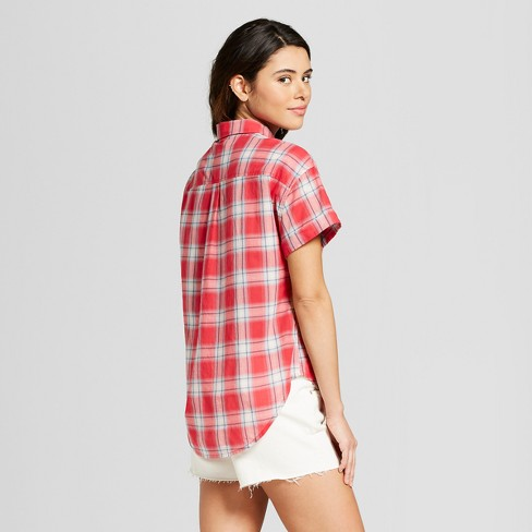 18a9d0e1 Women's Short Sleeve Plaid Button-Down Shirt - Universal Thread™ Red Plaid