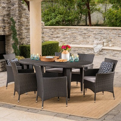 Vincent 7pc Wicker Patio Dining Set - Gray - Christopher Knight Home