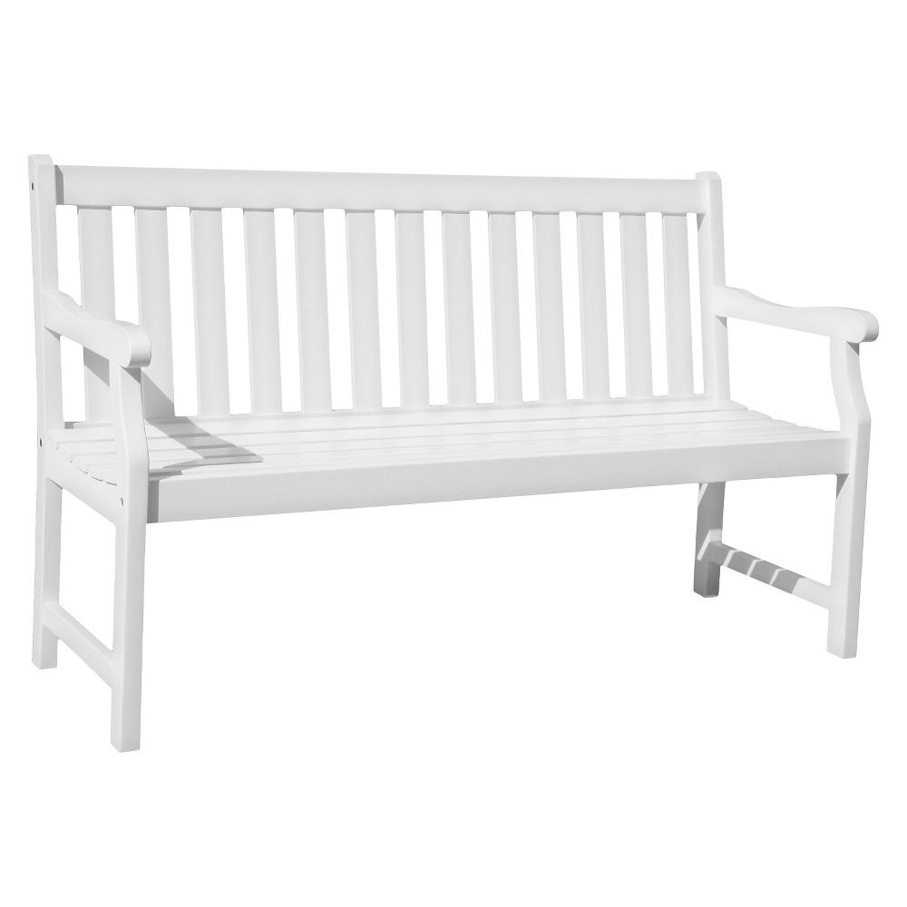Vifah Bradley Eco-friendly 5' Outdoor White Wood Garden Bench
