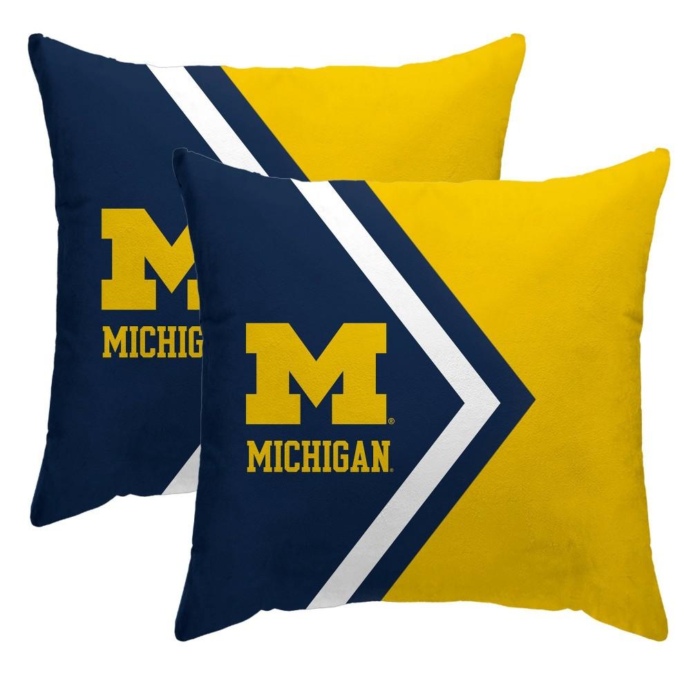 Ncaa Michigan Wolverines Side Arrow Poly Span Throw Pillow 2pk