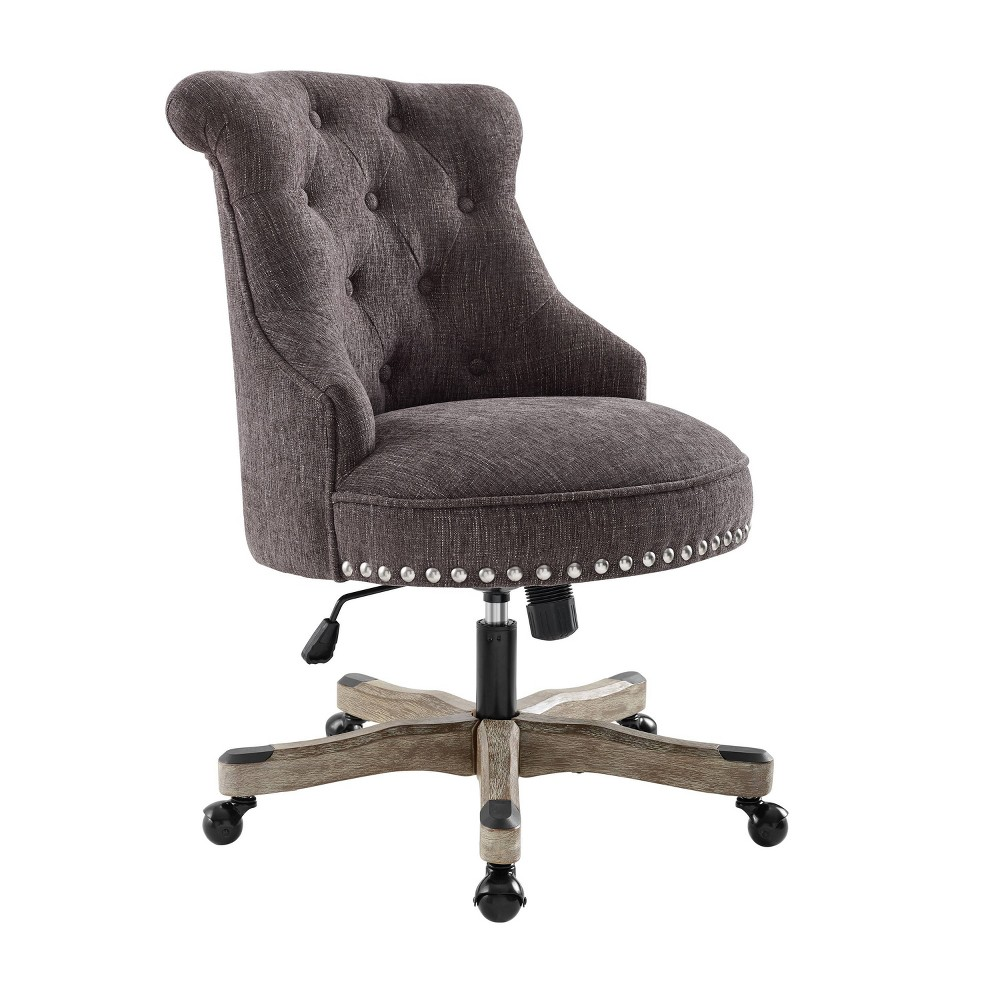 Upholstered Chair In A Swivel Base Dark Gray Linon