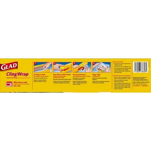 Glad Cling Wrap Plastic Food Wrap - 400 sq ft