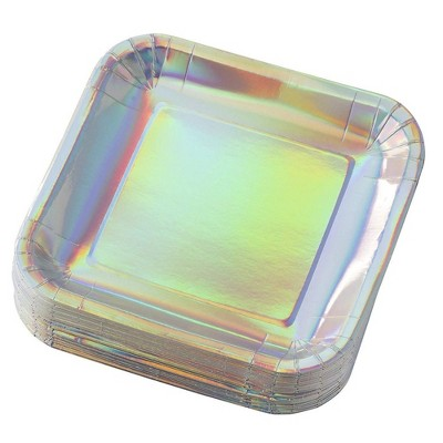 """Juvale 48 Pack Square with Silver Holographic Foil Iridescent Disposable Paper Plates 9"""" Party Supplies"""