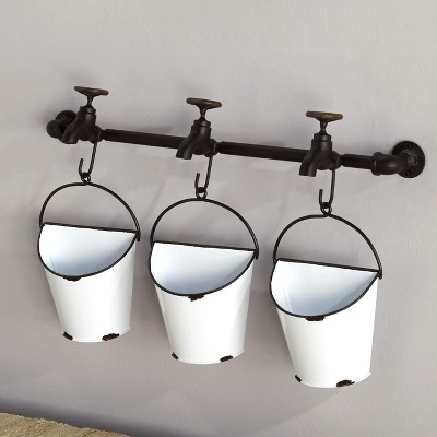 Lakeside Wall Mounted Enamel Planter Buckets with Spigot Look Mounting Bar
