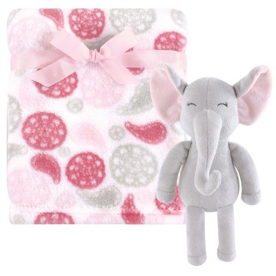 Hudson Baby Infant Girl Plush Blanket with Toy, Paisley Elephant, One Size