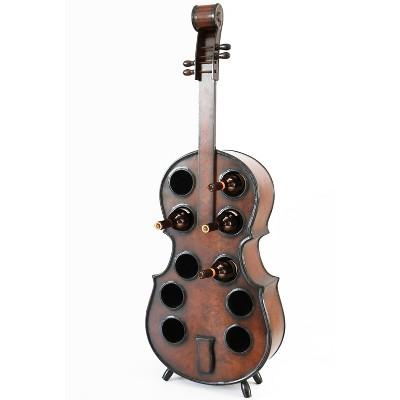 Vintiquewise Wooden Violin Shaped Wine Rack, 10 Bottle Decorative Wine Holder
